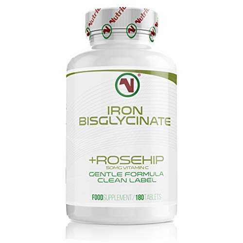 MEGA Sale - Nutriodol Iron Bisglycinate with Rosehip Vitamin C Tablets   Immune Boosting   (180)
