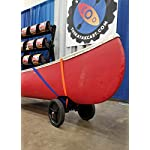 """THEKAYAKCART KC-10 Heavy Duty Canoe/Kayak Cart 12 KC-10 Heavy Duty Kayak cart has flexible cradle adapts to various hull shapes. Comes with dual strap attachments, buckles and hook. Weight capacity is 125 lbs. . Dim.16"""" x 10"""" x 11.5"""" 10""""x 2"""" puncture freewheels roll smoothly across gravel or sand. Aluminum solid axle with wheel release pins. Made of solid aluminum and co-polymer and will not rust. Made in the USA"""
