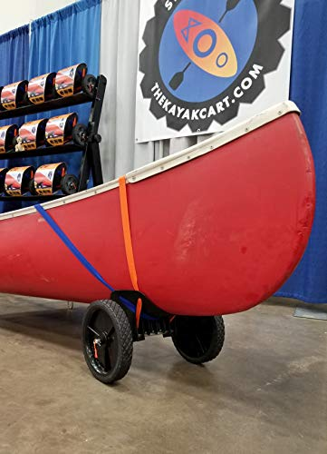 """THEKAYAKCART KC-10 Heavy Duty Canoe/Kayak Cart 4 KC-10 Heavy Duty Kayak cart has flexible cradle adapts to various hull shapes. Comes with dual strap attachments, buckles and hook. Weight capacity is 125 lbs. . Dim.16"""" x 10"""" x 11.5"""" 10""""x 2"""" puncture freewheels roll smoothly across gravel or sand. Aluminum solid axle with wheel release pins. Made of solid aluminum and co-polymer and will not rust. Made in the USA"""