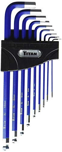 Titan 12714 9-Piece Extra-Long Arm Ball Tip Metric Hex Key Set , Blue