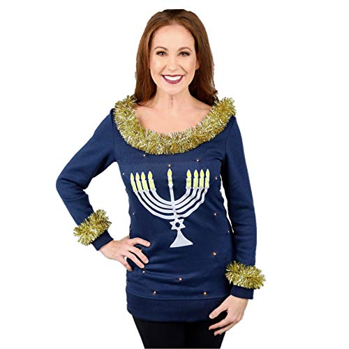 Light Up Menorah Sweater for Women with Tacky Garland, Ladies Ugly Hanukkah Sweater, XS - Plus Size 2XL by The Ugly Holidays
