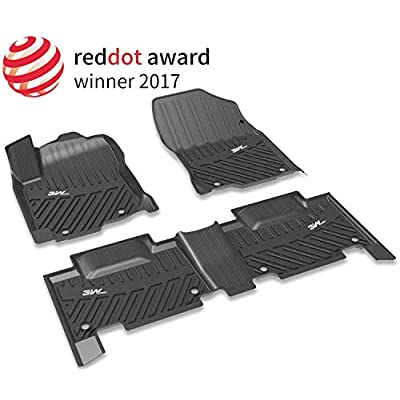 3W Floor Mats for 2021 Nissan Rogue, Custom Fit TPE All Weather Floor Liner, 1st and 2nd Row Nissan Rogue Car Mats Black