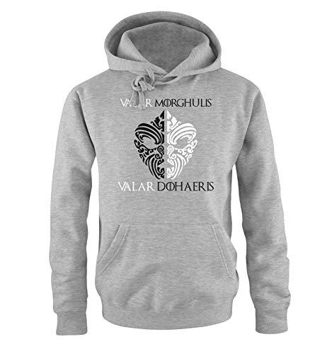 Just Style It - Valar Morghulis/Dohaeris - Faceless Men - Game of Thrones - Herren Hoodie - Grau/Schwarz-Weiss Gr. XL