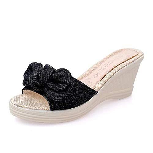 Cxypeng Sandalias de Punta Descubierta para Mujer,Sandalias y Pantuflas con Plataforma de Verano, Sandalias de tacón Alto con Corbata de Lazo para Mujer-Black_36,Chanclas Thong