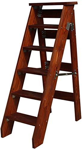 HOMRanger Madera Maciza Ampliado Hogar Taburete de 6 escalones Escalera Plegable Silla de Escalera Bastidores de Plantas Escalera de Mano portátil Herramientas de jardín livianas-Capacidad de 330 LB