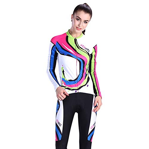 VEOBIKE Damen-Radtrikot für Frühjahr/Herbst,Atmungsaktiv Mountainbike-Bekleidung, Fahrradhosen, Outdoor-Sportbekleidung,White,L