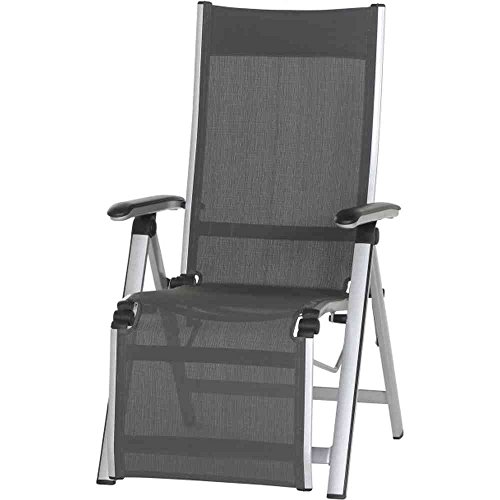MWH Stuhl Core Aluminium Relax Sessel mit Textilene, dunkelgrau/grau/silber/schwarz