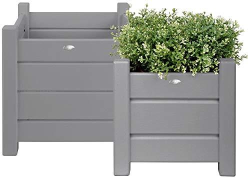 Esschert Design Übertopf, Blumenkasten 2er-Set in grau, quadratisch, Verschiedene Größen