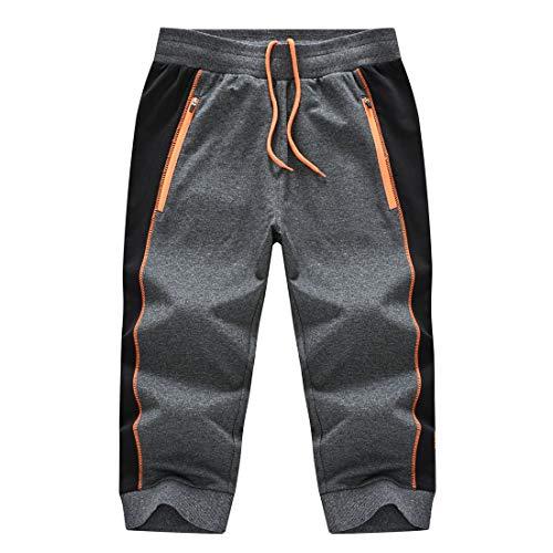 donhobo Pantalones cortos 3/4 para hombre, pantalones de chándal de algodón, pantalones capri, pantalones de verano, tiempo libre, con bolsillos con cremallera gris oscuro 42