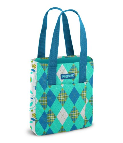 JanSport Classic Tote, Calypso Blue Plaid Argyle/Calypso Blue Tree Flower