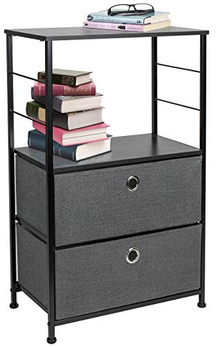 Best Price! Sorbus Nightstand 2-Drawer Shelf Storage – Bedside Furniture & Accent End Table Chest for Home, Bedroom, Office, College Dorm, Steel Frame, Wood Top, Easy Pull Fabric Bins (Black/Charcoal)