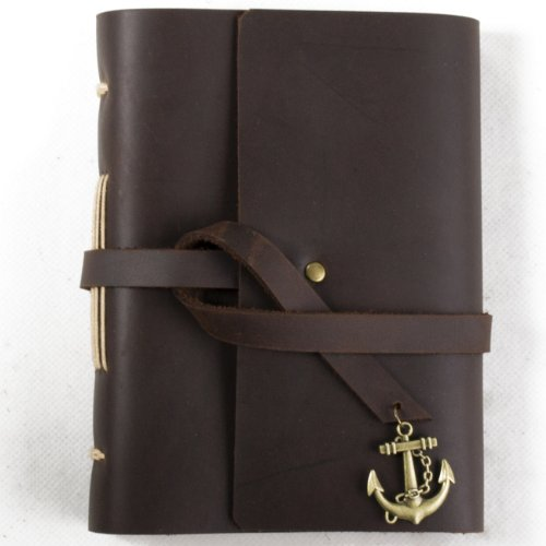 Ancicraft Small Leather Journal with Anchor for Men Women Vintage Diary Handmade A6 Lined Craft Paper Brown with Gift Box (A6-Anchor-Lined Craft Paper)