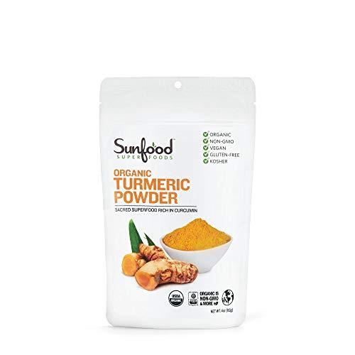 Sunfood Superfoods Organic Turmeric Root Powder - 100% Pure Medicinal Herb with Curcumin - 4 oz Bag