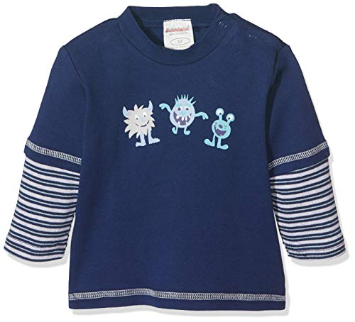 Schnizler Sweat-Shirt Interlock Kleine Monster Manches Longues, Bleu Marine 1(1), 9 Mois Bébé Fille