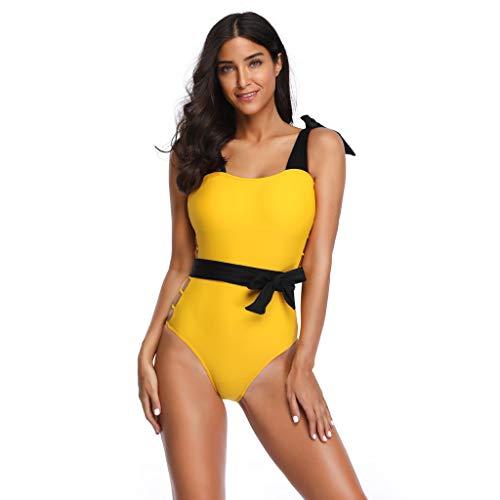 Honestyi-Maillots de bain Bikini Sexy, Couleur Unie Natation Ensembles Chic Sling Bandage Beachwear 2020 Nouveau Été Mode Swimwear Retro Taille Haute Bathing Suit