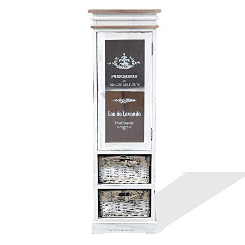 Rebecca Mobili weiße Glasvitrine, Standvitrine 1 Tür 2 Weidenkörbe, Holz, im Shabby-Stil, als Wohneinrichtung Haus Bad Eingang – Maße: 102 x 32 x 27 cm (HxLxB) – Art. RE4486