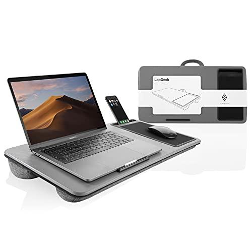 Simplain - Laptopkissen - Optimal zum Arbeiten aus dem Bett - Laptop unterlage bis zu 17 Zoll mit angenehmen Mauspad und praktischem Handyhalter