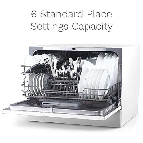 hOmeLabs Compact Countertop Dishwasher - Energy Star Portable Mini Dish Washer in Stainless Steel Interior for Small Apartment Office and Home Kitchen with 6 Place Setting Rack and Silverware Basket