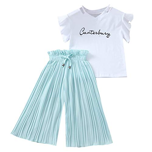Teen Clothes Sets, Children Kids Baby Girls Letter Flutter Sleeve T Shirt Tops Ruffle Loose Ruched Pants Outfits (11-12 Years, Green)