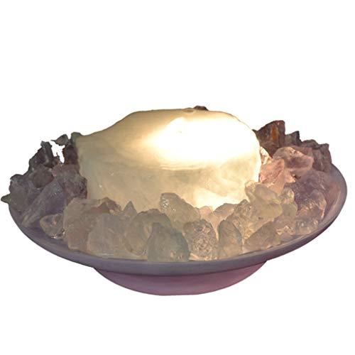 home trends & more Bergkristall Scheiben Brunnen, Edelstein Zimmerbrunnen beleuchtet, Edelstein Mix mit Amethyst und Bergkristall, Naturstein Brunnen Wasserspiel, Schale lila, ca. 25 cm
