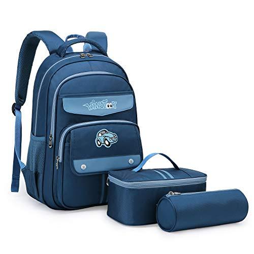 Wind Took 3-TLG Kinderrucksack Schulrucksack Cartoons Schultasche Teenager Rucksack Backpack Schultaschen-Sets mit Brotdose und Federmäppchen für Mädchen Jungen Kinder Blau