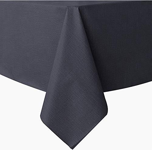 AYSW Tischdecke Tischtuch Pflegeleicht Leinenoptik Wasserabweisend Tischwäsche 130×160cm Grau
