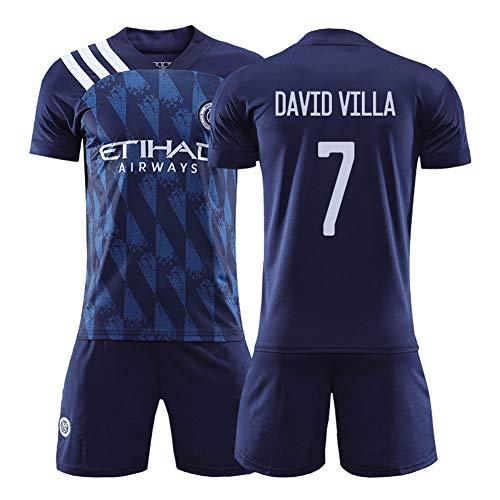 David Villa 7# 20-21 New York Heimfußballtrikots - Kurzarm-T-Shirt für Erwachsene Männer Kurzarm-Teamuniformen Zweiteiliges Sweatshirt Schnelltrocknendes Geschenk S-XXL- L (175~180CM)