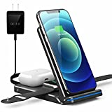 Foldable Wireless Charger, 3 in 1 Fast Wireless Charging Stand for iPhone 12/12 Pro/Mini/11/11 Pro Max/XR/X/Xs/8 Series,AirPods,iWatch,Samsung Cell Phone (Wireless Charger, Black)