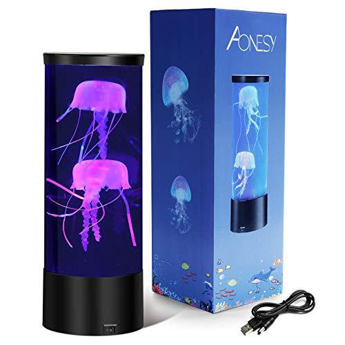 Quallen Stimmungs Lampe, Quallen Lampe, LED Fantasy Desktop Runde Quallen Lampe, Aquarium Stimmungslampe Dekoration Spielzeug für Weihnachts Inneneinrichtungen