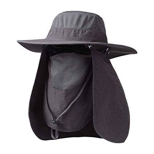 Fishing Hat,Sun Cap with UPF 50+ Sun Protection and Neck Flap,for Man and Women Dark Gray