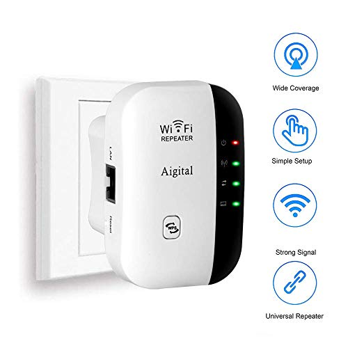 Aigital WLAN Booster WiFi Verstaerker Range Extender 300Mbps Multifunction Mini Wi-Fi Signal-verstärker Wireless Access Point 2.4GHz mit WPS Funktion Willigt IEEE802.11n/g/b