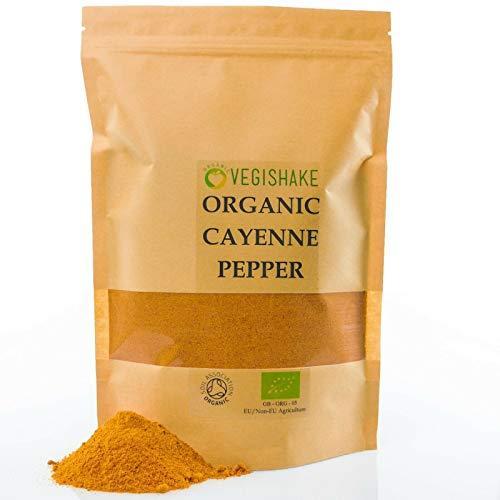 Pimienta de cayena orgánica en polvo de grasa quemador de energía pérdida dieta peso saciedad manejo vegano (250 g)