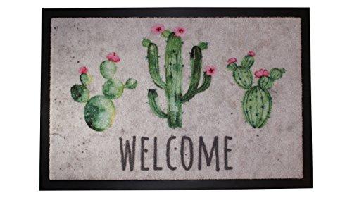 Carpido Felpudo de Cactus 100% Poliamida, Multicolor, 40 x 60 cm