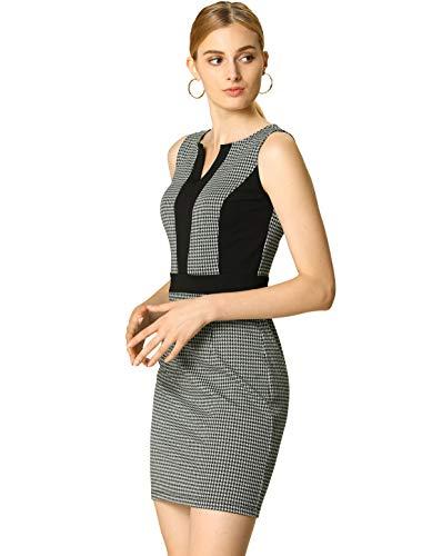 Allegra K Women's Houndstooth Sleeveless Split Neck Slim Office Work Bodycon Dress M Black/White