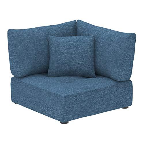 Marca Amazon -Alkove Elvas - Módulo de esquina con almacenaje y cojín adicional para sofá modular, 100 x 100cm, azul marino