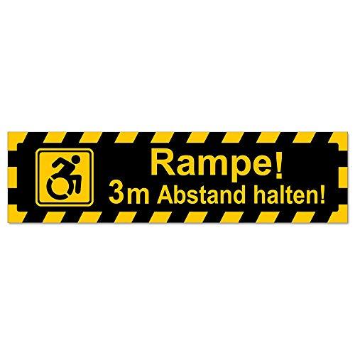 Kiwistar Rampe! Motiv 3m Abstand gestreift Hinweis Aufkleber Sticker laminiert wetterfest