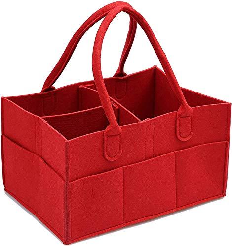 Diaper bag Sac à Couches Felt Couches for bébés Panier de Rangement Maman Portable Sac de Rangement ( Color : Red )