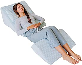 Adjustable Orthopedic Bed Wedge Pillow Set, Reading Pillow & Back Support Wedge Pillow for Sleeping, Memory Foam Wedge for Lower Back, Knee and Leg Pain, Acid Reflux, Snoring, Post Surgery Recovery