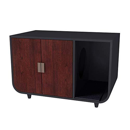 Staart Dyad Wooden Large Cat Washroom Litter Box Enclosure, Mocha Walnut