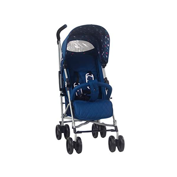 My Babiie MB02 Blue Flash Stroller My Babiie Suitable from birth to maximum 15kg, Great for parents on the go being lightweight but strong, Lockable swivel front wheels Front and rear wheel suspension, Compact fold, ideal for holidays too! Adjustable 2-position leg rest for extra comfort, Super soft handles, Extendable 3 position canopy 2