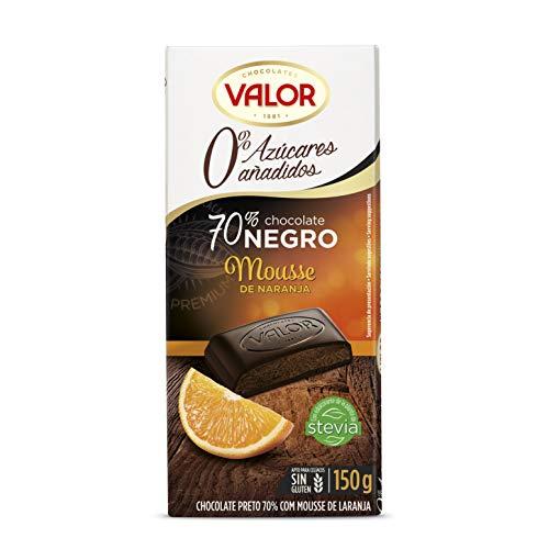 Chocolates Valor Chocolate 70% Cacao con Mousse de Naranja, sin Azúcar, 150g