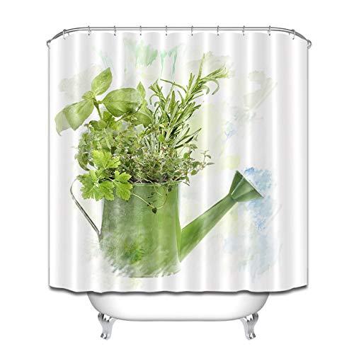 JYEJYRTEJ Gießkanne Aquarell frische Vanille Dekorativer Duschvorhang kann gewaschen & getrocknet Werden,12Haken,180X180cm,geeignet für Badezimmer