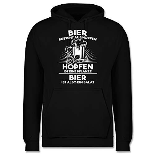 Shirtracer Sprüche - Hopfen ist eine Pflanze Bier ist Salat - XS - Schwarz - Lavendel Pflanze - JH001 - Herren Hoodie und Kapuzenpullover für Männer