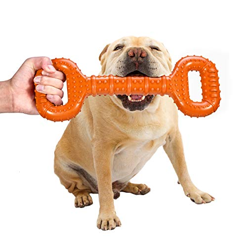 Feeko Dog Toys for Aggressive Chewers Large Breed 15 Inch Interactive Bone, Durable Indestructible Dog Toys with Convex Design, Natural Rubber Tug-of-war Toy for Extral Large Dogs (Orange)