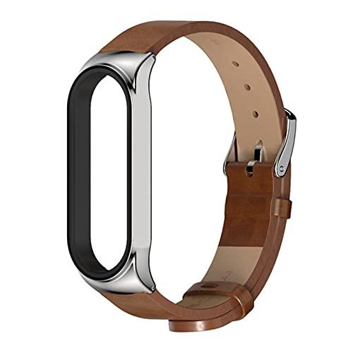 Correa de cuero para Xiaomi Mi Band 5 4 3 Correa de reloj Hombres Mujeres Pulsera Pulsera de cuero para Mi Band 4 5 3 Correas-plateado marrón, para Mi Band 4