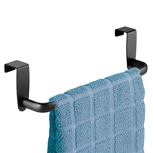 "mDesign Modern Kitchen Over Cabinet Strong Steel Towel Bar Rack - Hang on Inside or Outside of Doors - Storage and Organization for Hand, Dish, Tea Towels - 9.2"" Wide - Matte Black"