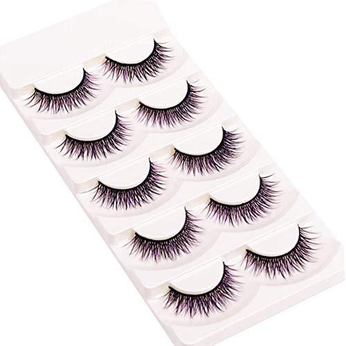 Faux cils 5 Paires De Longs Pourpres Noirs, Effectuer Un Maquillage De Scène Réaliste Naturel Croisé De