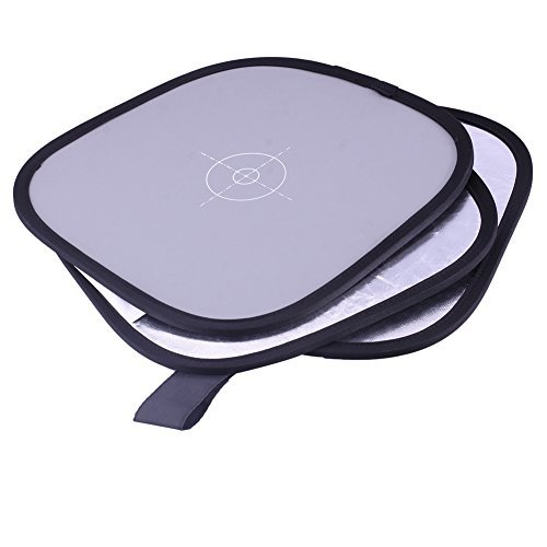 """Neewer Collapsible Hand Hold Tri-Fold Reflector Disc 12""""/30cm + Grey Card/White Balance Digital Target Combo for Studio Photography + Zippered Carry Bag"""