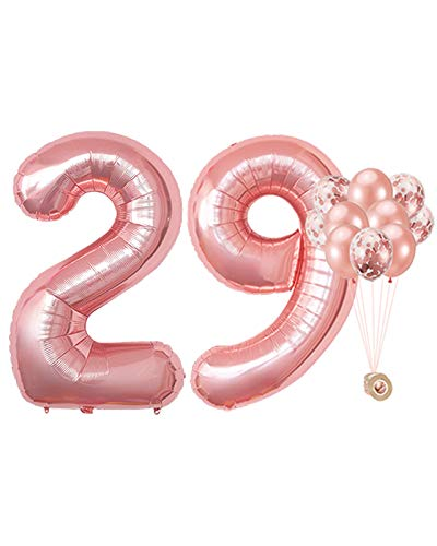 AULE 40 Inch Large 29 Balloon Numbers Rose Gold, Big Foil Number Balloons, Giant Helium Happy 29th Birthday Party Decorations fo Women, Huge Mylar 92 Anniversary Party Supplies