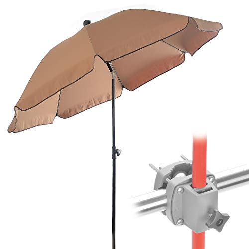 Set – Sonnenschirm Balkon + Schirmständer Sonnenschirm – Komplett-Set ideal zur Beschattung kleiner Balkone – Sonnenschirm rund Ø 2 m + Sonnenschirmhalter Balkongeländer